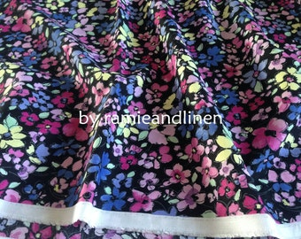 """Japanese made cotton rayon blend fabric, floral print cotton rayon fabric, half yard by 44"""" wide"""