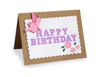 Happy Birthday Fairy Card , Flowers , Magical , Pink , Green , Girls , PaperCut