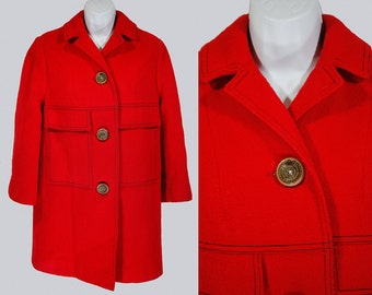 Vintage 60's BETTY ROSE Double Breasted Red Wool Coat M