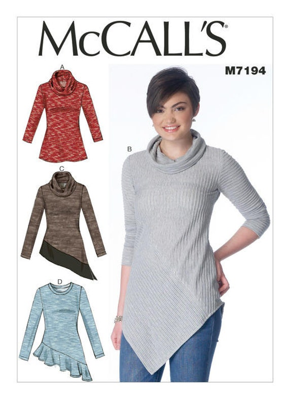 McCalls 7194 Misses\' Cowl-Neck Tops Sewing Pattern, New Uncut ...