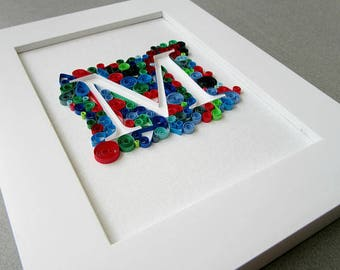 Custom Letter Initial Art, Custom Decor Sign, Quilling Monogram, Paper Quilling Art, Personal Gift For Couple, Paper Quill, Personal Nursery