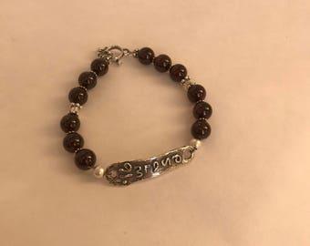 Psalm 91 Sterling Silver Garnet Beaded Christian Religious Inspirational Bracelet