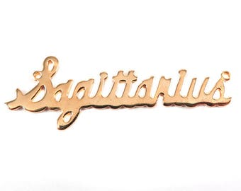 Rose Gold Plated Astrological Name Plate Pendant - Sagittarius - (1X) (A612-D)
