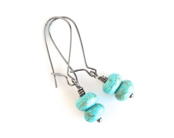 Turquoise earrings, turquoise howlite women's jewelry, turquoise drop gemstone earrings, boho style, bohemian trends, women's accessories