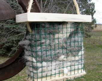 Bird Nesting Fiber Holder filled with Alpaca Fleece