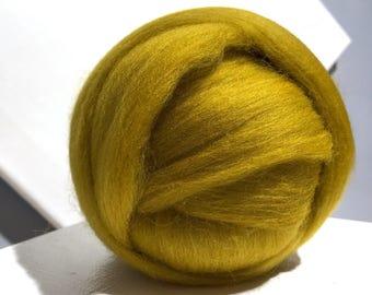 Mustard Yellow Merino Wool Roving, Dijon mustard wool roving, Needle Felting, Spinning Fiber, dark yellow gold roving