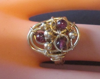 Gold Wire Ring With Purple Beads - Size 4.5 - R-048