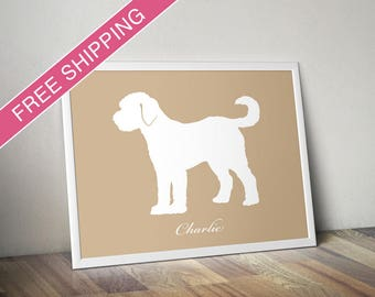 Personalized Goldendoodle Silhouette Print with Custom Name - Goldendoodle art, dog art, dog gift