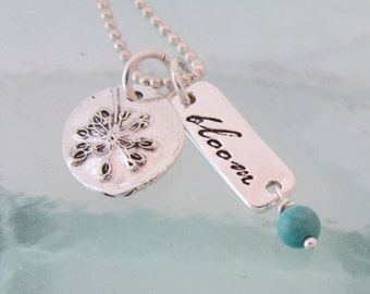 Handcrafted Bloom Charm Necklace with Turquoise