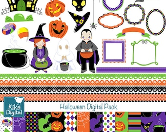 Halloween Digital Clipart and Paper Pack - Scrapbooking , card design, invitations, stickers, paper crafts, web design - INSTANT DOWNLOAD