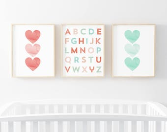 Coral and Mint 3 Bundle Nursery Art. Nursery Wall Art. Nursery Prints. Nursery Decor. Alphabet Wall Art. Instant Download.