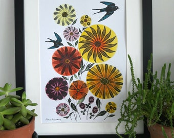 Bright Flowers with Swallows, Affordable Original Art
