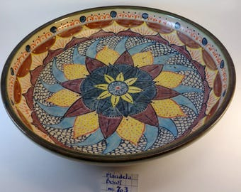 Wheel thrown stoneware platter with Mandela design