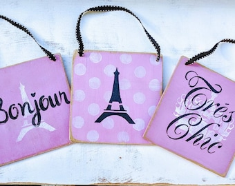 Set of 3 Paris Signs | door hangers | mini signs | Paris | French | trees chic | Eiffel Tower | crown | pink and black | girls room decor |
