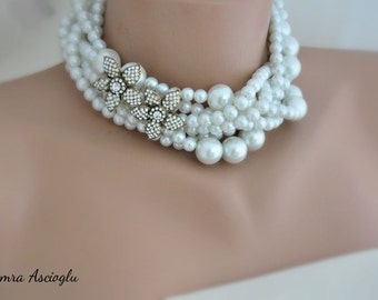 Bridal Jewelry, Chunky Pearl Necklace, Chunky Rhinestone Necklace, Wedding Necklace, Bridal Necklace, rhinestone necklace pearl jewelry,