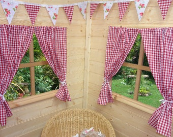 Red Gingham Playhouse Curtains