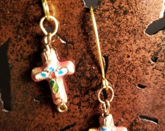 Cloisonne cross earrings