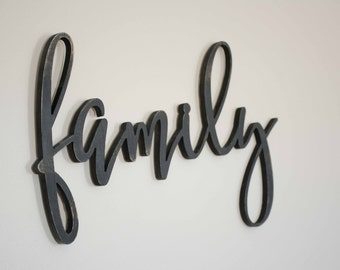 Family Wood Sign Custom Made Home Decor, Gallery Wall, Custom Cut out family word sign, Wooden family word