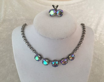 12mm swarovski crystal necklace- cushion cut stones-  crystal- purple- silver- custom colors available- 5 stone necklace