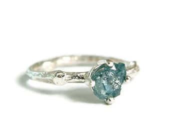Raw Blue Diamond Ring, Alternative Wedding Ring, Steampunk Jewelry, Sterling Rough Diamond Twig Ring, custom size