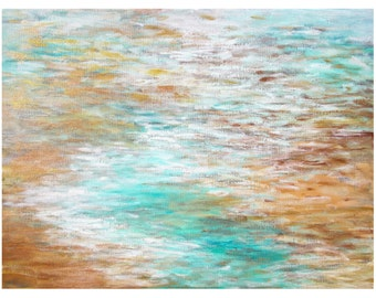 Beach Home Decor, Original Abstract Painting, Contemporary Art 18x24 Canvas, tropical white gold copper metallic, Jessica Torrant
