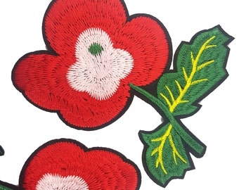 Red Flowers Embroidered Patch Applique, Iron On Poppy Flower Patches, Image TransferDecor