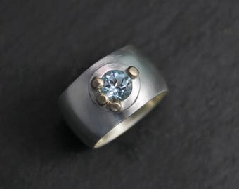 12mm Wide Sky Blue Topaz Ring, 18k Yellow Gold Accents, Pebble Ring, Sterling Silver Button Ring, Domed Ring, Made to Order