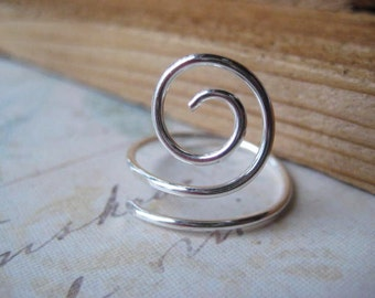Swirl Ring, Sterling Silver Ring, Hand Formed, Stacking Ring, Sterling Silver, Womens Jewelry, candies64