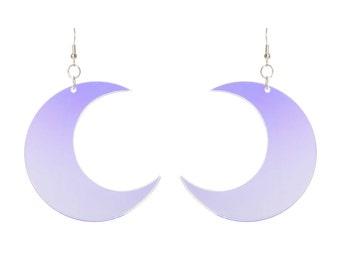 Crescent Moon earrings - laser cut radiant acrylic