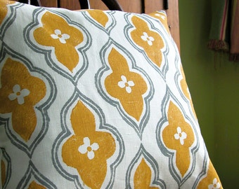 hand block printed gray and yellow ochre ogee on white linen decorative pillow case