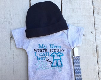 Baby Boy Clothes, Embroidered Bodysuit, Baby Shower Gift, My Hero Wears Scrubs I Call her my Mommy, Bodysuit, Baby Boy Clothing Set Baby Hat
