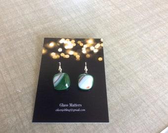 Earrings glass green orange white fused glass handmade