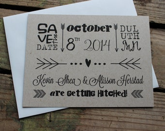 Sample Only Arrow Rustic Wedding Save the Date Invitation with Magnet Optional