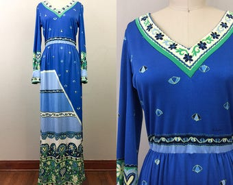 Vintage 70s PAGANNE Op Art Psychedelic Maxi Dress Blue Green S/M