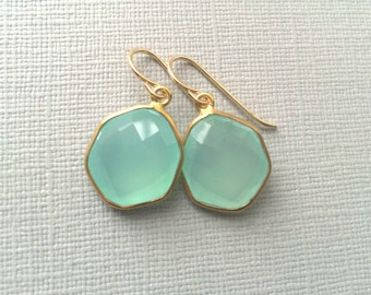 Aqua Chalcedony Earrings, Aqua Chalcedony Gold Earrings, New Shape Aqua Mint Chalcedony Earring,