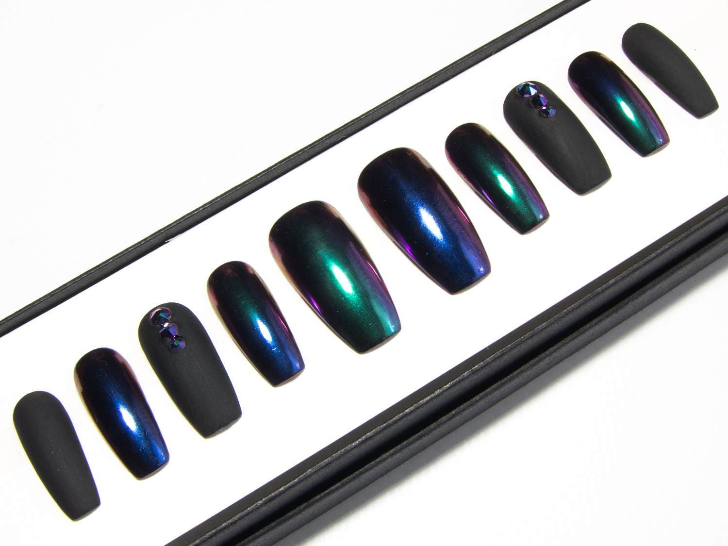 Matte Black & Chrome Nails - Ombre Mirror Nails - Coffin False Nails ...