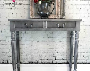 SOLD - Pewter, Silver, Grey, Two Drawer, Stenciled, Console Table, Hall Table, Sofa Table, Side Table, Fluted Legs, Narrow, modern