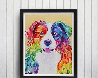 Rainbow Border Collie art print, Border collie art, Border collie, Rainbow dog, Border collie print, Bright border collie, Collie wall art