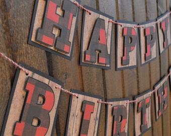 Lumberjack Birthday - Lumberjack First Birthday - Lumberjack Banner - Happy 1st Birthday Banner - Buffalo Plaid Banner - Lumberjack Birthday