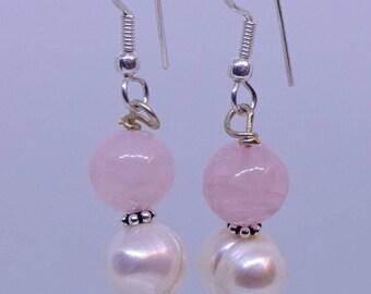 Rose quartz, pearl, sterling silver earrings.
