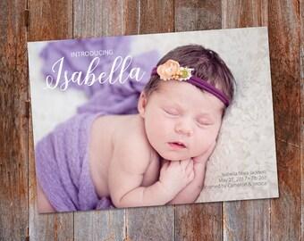 Photo Birth Announcement Template, Girl announcement, Boy Announcement photo card, Baby Announcement Card, Newborn Announcement, New Baby