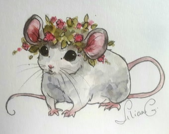 Maeva the Mouse (original watercolor)