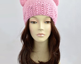 Fairy Kei Cat Hat, Cat Ear, Cat Ear Hat, Womens Cat Beanie, Cat Ear Beanie, Knit Hat, Ears Hat, Knitted Hat, Fairy Kei Hat with Cat Ear
