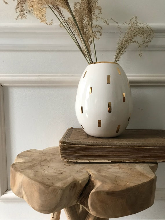 Pod Tall Vase Vessel 22 Karat Gold Luster  Oval Pottery Ceramic Container Chose Color MADE TO ORDER