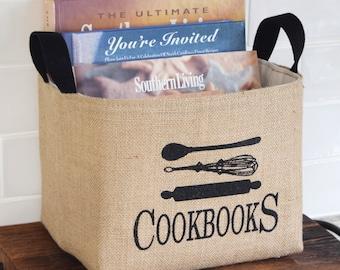 Cookbooks Decorative Burlap Basket