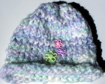 Child's Knit Hat, Pastel Posies