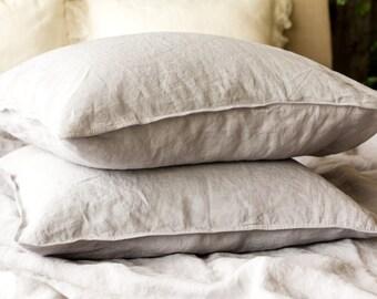 Linen PILLOWCASE, Stonewashed linen pillow case in dove grey, Softened linen pillow slip, Regular linen pillow cover, Linen pillow slip