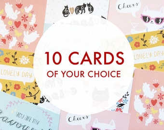 Postcard set: multipack of 10 greeting cards of your choice!