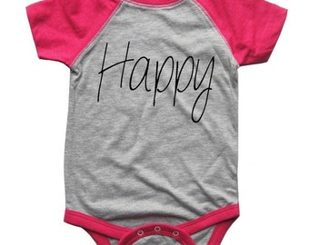 HAPPY BABY Bodysuit Raglan one piece shirt creeper Baseball jersey screenprint