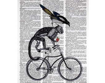 Monkey and Bird on a Bicycle Print on a Vintage Book Page